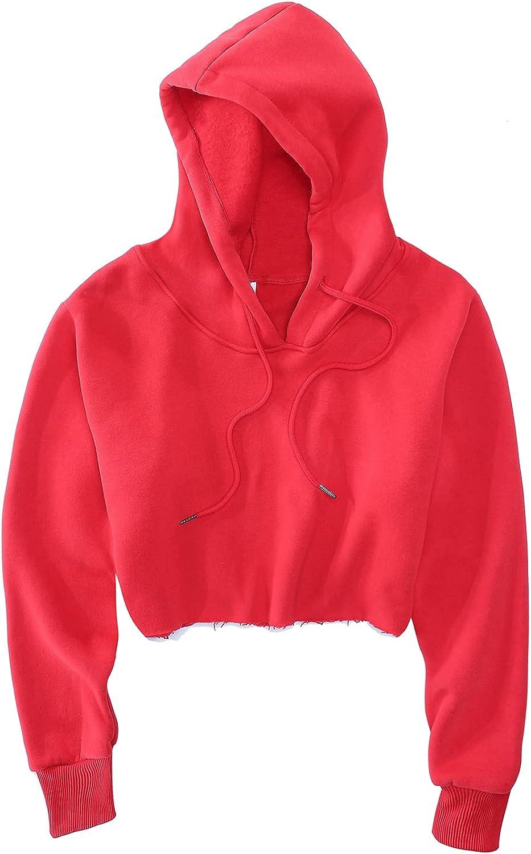 FADBBW Women's Cropped Hoodie Fleece Long Sleeve Pullover Cut Off Hood Sweatshirt