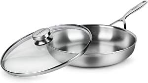 "Demeyere 11"" Fry Pan with Glass Lid - 5-Plus Series - 5-ply Stainless Steel, Made in Belgium"