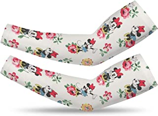Mickey Minnie Love Flowers Arm Protection Sun Sleeves for Mens Women Teens Kids (One Pairs)