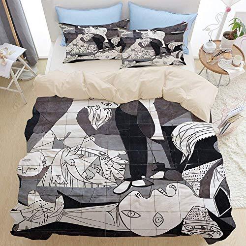 Juego de cama de 3 piezas, Guernica, España - 10 de octubre de 2015_ Una pared de azulejos en Gernika recuerda el bombardeo durante la Guerra Civil Española. Primer, moderno juego de funda nórdica de