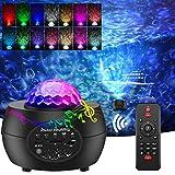 Sternenhimmel Projektor mit Fernbedienung Bluetooth Musik LED Sternenlicht Wasserwellen FarbwechselNachtlichtKinderzimmer Projekorlampe fürParty WeihnachtenOstern Geschenk