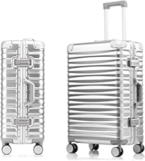 SMLCTY Aluminum Frame Trolley Case,ABS+PC,360° Universal Wheel Large Capacity Boarding,Hard Shell Travel Hold Check In Luggage Suitcase 4 Wheels (Color : Silver, Size : 26 inch)