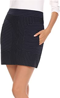 ANGVNS Women's Cotton Striped Patchwork Stretchy Mini Pencil Skirt
