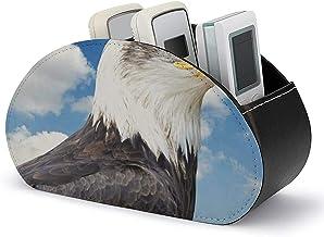 Boîte de rangement pour support de télécommande TV avec 5 compartiments - Pygargue à tête blanche en cuir PU avec rangemen...