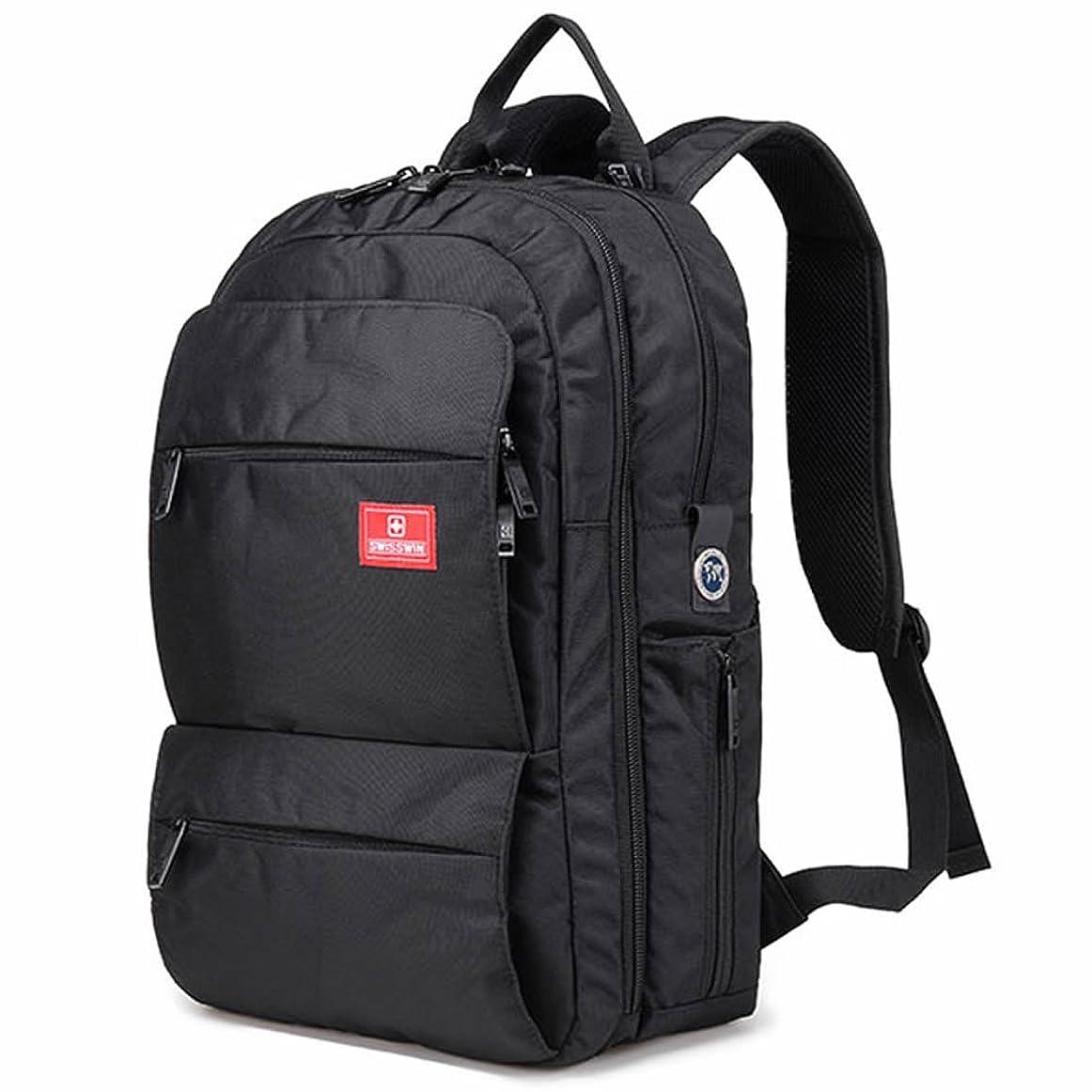 変更可能持参休憩するSWISSWIN バックパック リュックサック ビジネスリュック メンズ レディース アウトドア 28L バッグ ブラック SWE6018