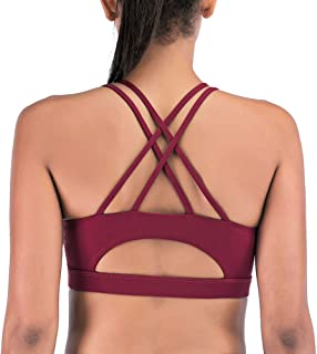 Yaavii Padded Strappy Sports Bra for Women Sexy Cross Back Medium Support Workout Activewear Yoga Bra Top