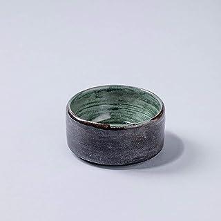 Cuenco rústico de cerámica rústico hecho a mano de Sause Decoración para el hogar esmalte verde gris oscuro texturizado