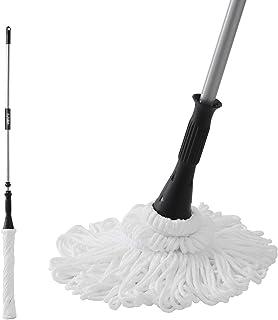 Eyliden. フロアモップ バージョンアップ フローリング 乾湿両用 掃除 床 クロス 2枚セット 取替 軽量 床を保護 きれいプラス 吸水掃除用 長さ調節 110cm~146cm (シルバー)
