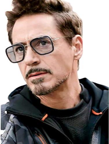 Tony Stark Iron Man Mirror Black Metal Men S And Women S Sunglasses H1GKR T012 Transparent