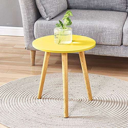 QIHANG-UK Small Sofa Side Table Simple Round Living Room End Table for Small Spaces, Nightstand Table for Bedroom, Yellow