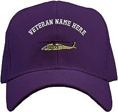 Custom Baseball Hat Blackhawk Military Helicopter Embroidery Veteran Hook & Loop