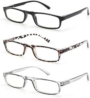Gaoye 3-Pack Reading Glasses Blue Light Blocking Women Men, Spring Hinge Computer Readers Anti UV Ray Square Eyeglasses