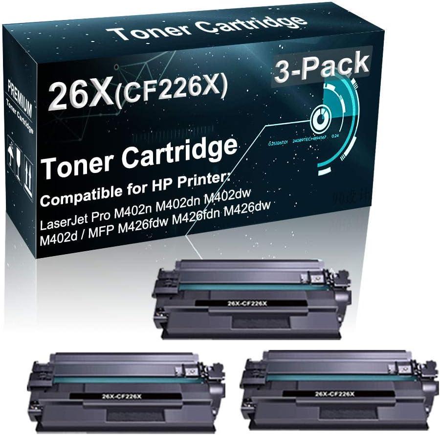 3-Pack Compatible High Yield 26X CF226X Toner Cartridge Used for HP Pro M402n M402d M402dw / MFP M426fdw M426fdn Printer (Black)