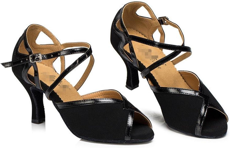 Byjia Women Sandals Salsa Latin Tango Ballroom High Heel Leather Suede Soft Soles Buckle Dance shoes Black