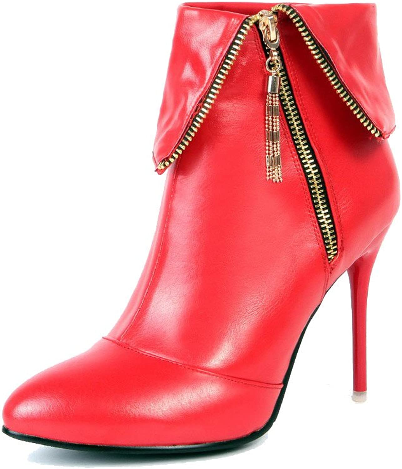 WeenFashion Women's Zipper Pointed Closed Toe High-Heels PU Ankle-high Boots