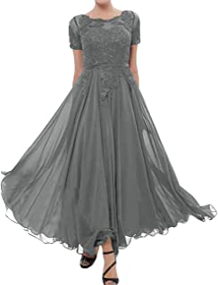 Mother of The Bride Dress Lace Appliques Chiffon Evening Formal Dress Short Sleeve