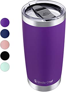 20oz Vacuum Insulated Tumbler, Stainless Steel Double Wall Travel Mug with Splash-Proof Lid by Umite Chef, Stainless Steel Coffee Cup with Straw for Hiking, Camping & Traveling(Purple)