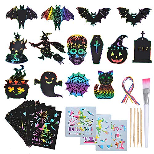 SunnyMemory Halloween Scratch Paper Art Set for Kids, 131pcs Rainbow Magic Scratch Off Arts and Crafts Supplies Kits Sheet Pack for Children Girls Boys Birthday Game Party Favor Halloween Craft Gifts