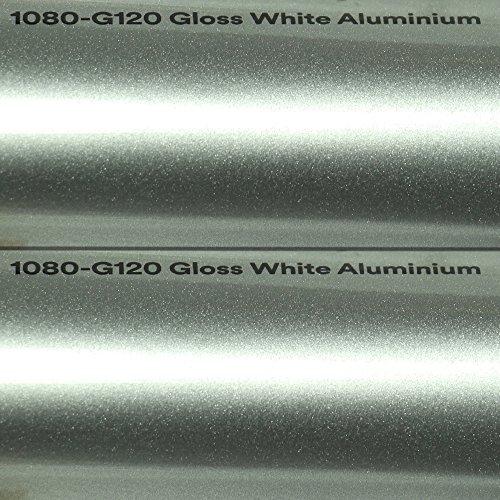 25,99€/m² 3M Autofolie Scotchprint Wrap Film 1080 Gloss G120 White Aluminium gegossene Glanz Profi Folie 152cm Breite BLASENFREI mit Luftkanäle