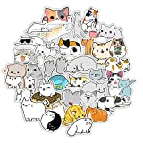 Cute Cat Stickers for Water Bottles 50PCS, Kawaii Kitten Cartoon Animal Stickers for Hydro Flask Scrapbook Laptop Skateboard Car, Waterproof Vinyl Stickers for Kids, Teens