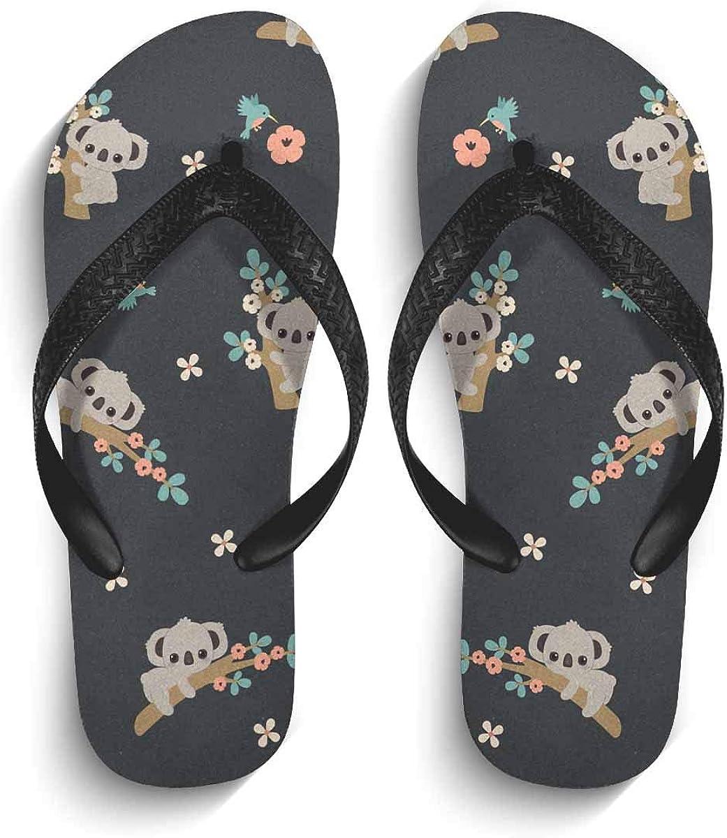 INTERESTPRINT Non-Slip Flip Flop Slippers Humming Bird Flowers and Leave Black Straps Slim Thong Sandal for Men