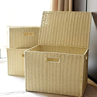 PPCP Rattan Grass Weaving Storage Basket with Lid Wardrobe Debris Sorting Box (Color : Beige)
