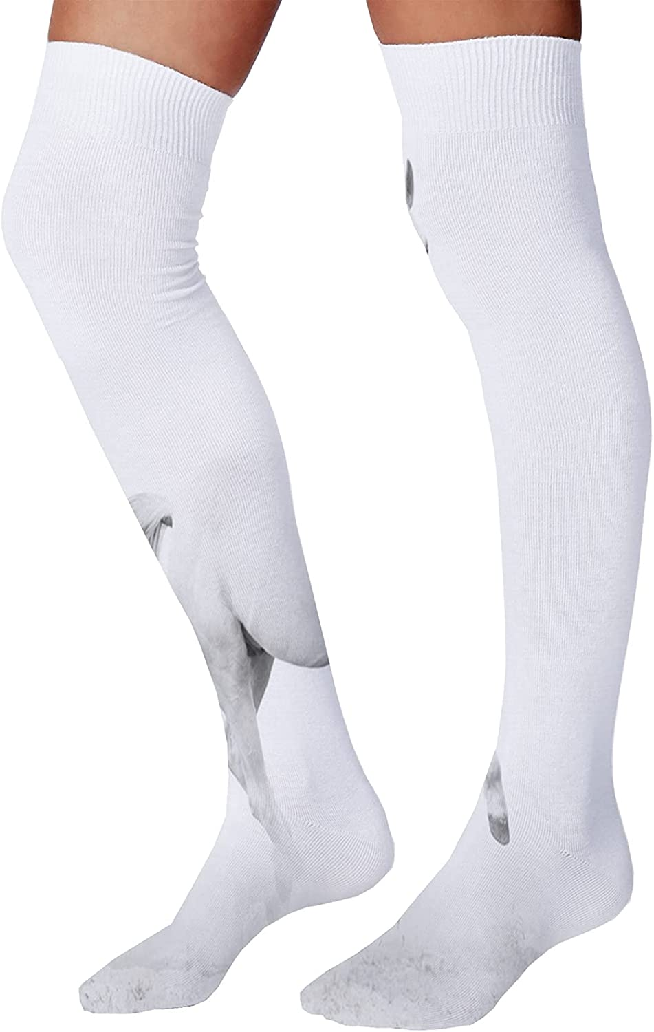 Men's and Women's Fun Socks,White Bird on Wire Aside of Many Black Ones Courage Will Power Individuality Theme