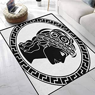 Toga Party Inside Door Mats 5x7 ft Classic Stencil Antique Period Roman Folk Woman Artistic Muse Hellenic Image Floor mats for Gym