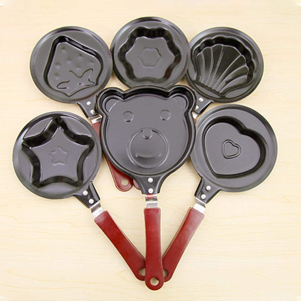 LTE Shaped Egg Frying Pans Nonstick Stainless Steel Omelette Breakfast Pancake Egg Mould Pans Cooking Tools,Yellow Red
