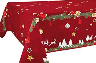 Le linge de Jules Nappe Anti-Taches Noël Rouge - Taille : Rectangle 150x240 cm