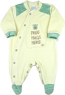 Macacão Bebê Plush Listrado Ursinho Free Hugs Here - Natural P