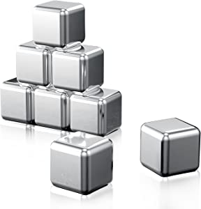 Whiskey Stones 8 PCS Stainless Steel Reusable Ice Cubes with Storage Tray and Ice Tong,Metal Ice Cubes For Whiskey, Vodka, Liqueurs, Wine,Beverage Juice or Soda