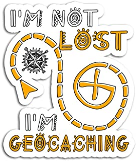 Hand Wooden Customizable Sticker I Am Not Lost Geocaching Funny Stickers for Personalize (3 pcs/Pack)