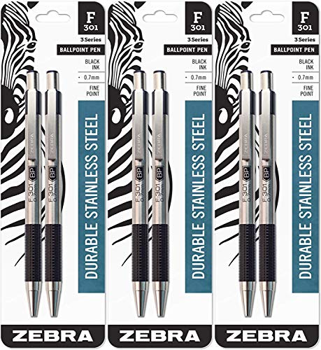 Zebra F-301 Ballpoint Stainless Steel Retractable Pen, Fine Point, 0.7mm, Black Ink, 2-Count, 3 Pack