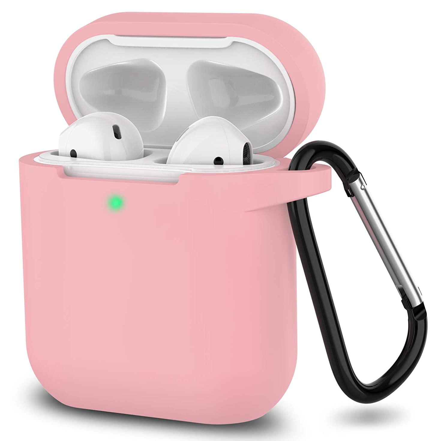 Newest 2019 AirPods Case,Full Protective Silicone AirPods Accessories Cover Compatiable with Apple AirPods Wireless Charging Case[Front LED Visible]-Pink