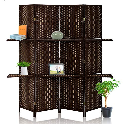 HCB Divider Room Panel, 4 Panel 6 Ft Folding Privacy Screens with 2 Display Shelves, Double Folding Privacy Screens, Freestanding Hinged Room Dividers