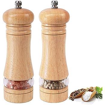 Macina sale e pepe manuale con Ceramic Core 2 pezzi cena ,wooden Regolabile grossolana e fine Adatto per picnic Set macina sale e pepe in legno ristorante barbecue feste
