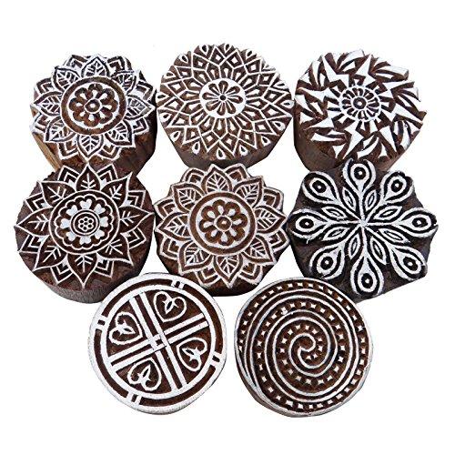 Knitwit Menge 8 Stück Indische Holztextilmarken Hand Geschnitzt Druckblock Braun Stempel