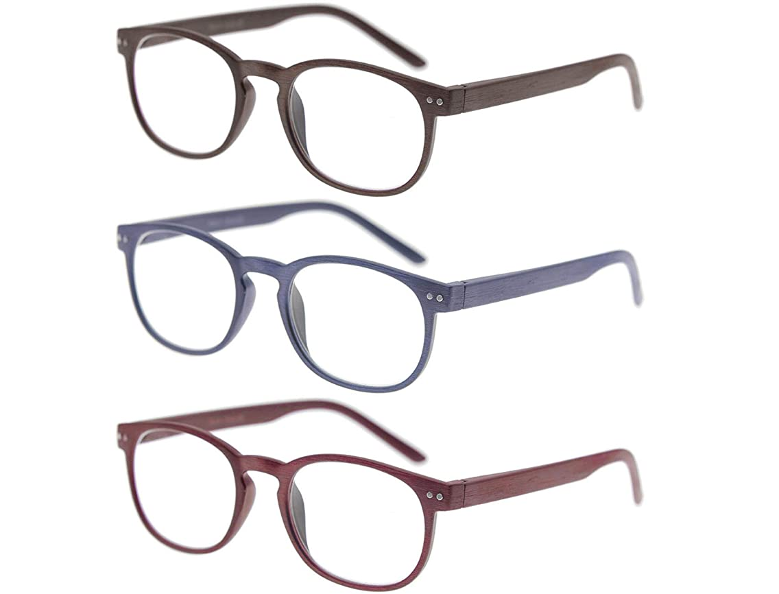 MODFANS Reading Glasses 3 Pack Men Women Wood Look Flexible Spring Hinges Stylish Readers Glasses for Unisex with Pouch