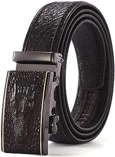 Men's Automatic Buckle Ratchet Belt Black Business Dress Casual Fashion Belt Long 125CM (Color : Coffee)