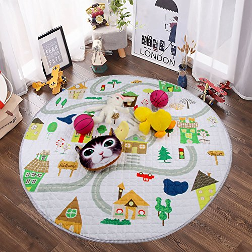 Winthome Baby Kids Play Mat Foldable Soft and Washable Toys Storage Organizer Children Play Rugs with 59 inches Large Diameter(House)