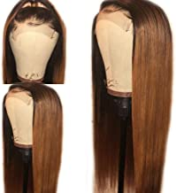 Fureya Straight Hair Glueless Lace Front Wigs for Black Women Ombre Dark Roots with Auburn Hair Color Synthetic Heat Resistant Fiber 1bt30 Lace Wigs 24 inch