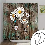 DESIHOM Rustic Shower Curtain Wood Daisy Shower Curtain with 12 Rust-Resistant Metal Shower Hooks, Country Floral Shower Curtain Farmhouse Spring Polyester Waterproof Shower Curtain 72x72 Inch