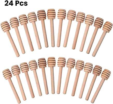 HEXIN Bag 24 Unids Varilla de Agitación de Madera 8cm Cuchara de Miel de Madera Miel