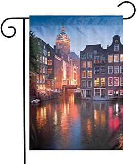 Mannwarehouse Wanderlust Decor Collection Garden Flag Night Time Illuminations of The Neo-Renaissance St Nicholas Church in Amsterdam Picture Decorative Flags for Garden Yard Lawn W12 x L18 Orange