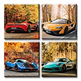DJSYLIFE Car Posters Boys Room Decor Wall Art Giclee Canvas Prints Autumn Landscape Red Sport Car Pictures Modern Artwork for Bedroom Home Decorations Painting 12x12 inchesx4 Framed Ready to Hang