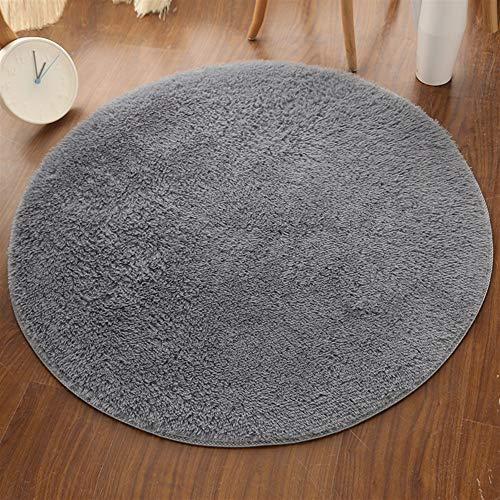 Insun Alfombra Shaggy Redondo Alfombra de Monocromática Decoración Interior Lavable Antideslizante para Sala de Estar y...