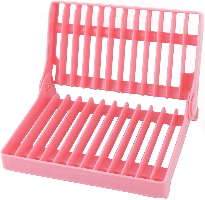 Plastic Restaurant Kitchen 12 Slots Folding Dish Drying Drainer Plate Rack Organizer Pink