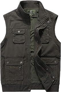 Men Outdoor Reversible Cotton Casual Gilet Vest Multi Pockets Full Zip Cargo Vests