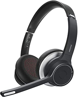 Mpow HC5 V5.0 Bluetooth Headset with Microphone, CVC8.0 Noise Canceling, 22+Hrs Talk Time, Soft Leatherette Ear Pad, Wireless Office Cell Phone PC Headset with Mute for Calling, Music (Wired Optional)